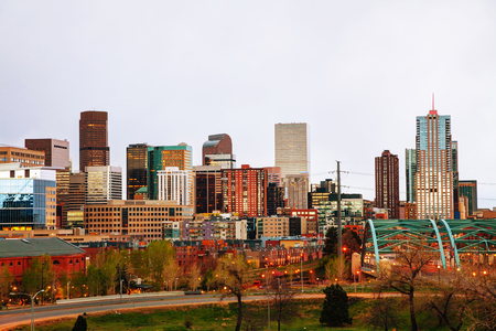 city of denver: Downtown Denver cityscape in the evening Stock Photo