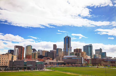 denver co: Downtown Denver cityscape on a sunny day
