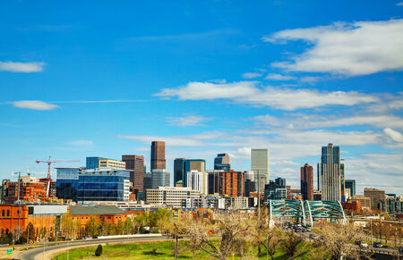capital of colorado: Downtown Denver cityscape on a sunny day