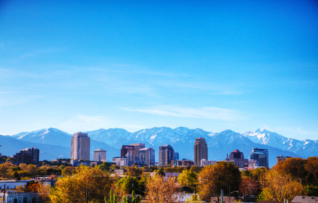 salt lake city: Salt Lake City overview on a sunny day