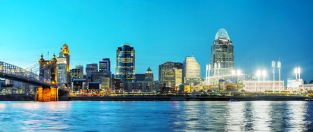 Cincinnati downtown panoramic overview early in the night photo