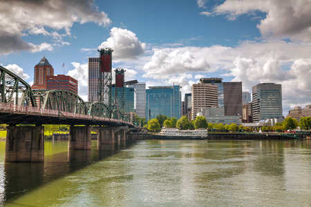 Downtown Portland cityscape on an overcast day