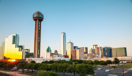Dallas, Texas cityscape in the evening at sunset photo