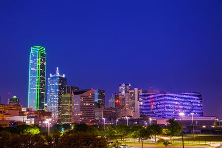 Dallas, Texas cityscape at the night time photo