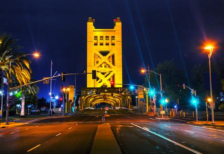 Golden Gates drawbridge in Sacramento at the night time photo