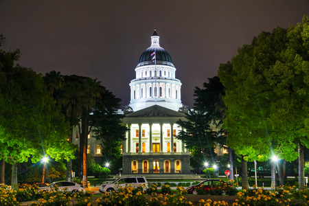 Night view of the California state capitol building in Sacramento