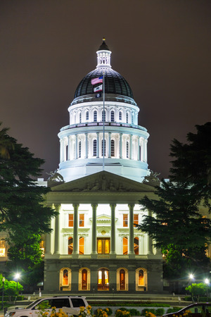 Night view of the California state capitol building in Sacramento photo