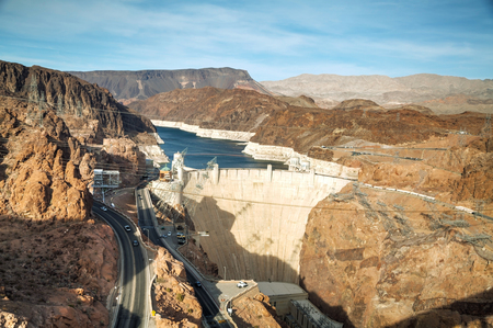 famous industries: Aerial view of dam on a sunny day Stock Photo
