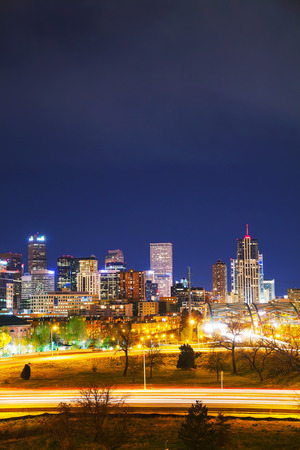 capital of colorado: Downtown Denver, Colorado at the night time