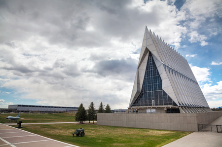 COLORADO SPRINGS, COLORADO - APRIL 28: United States Air Force Academy Cadet Chapel on April 28 in Colorado Springs, Colorado. It's a military academy for officer candidates for the United States Air Force