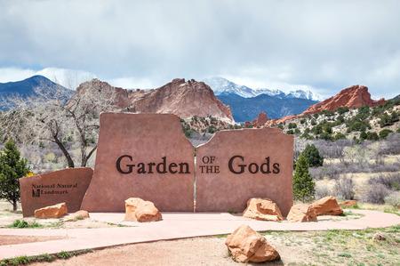 Garden of the Gods sign in Colorado Springs, Colorado