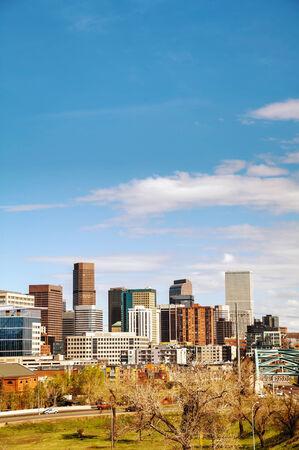 skyline of denver: Downtown Denver cityscape on a sunny day