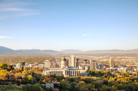 salt lake city: Salt Lake City panoramic overview in the morning Stock Photo