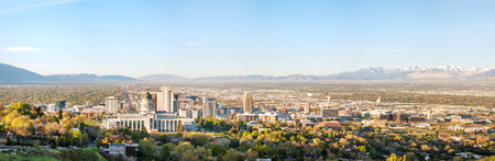 Salt Lake City panoramic overview in the morning Фото со стока