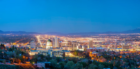 Salt Lake City panoramic overview in the night photo