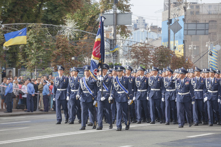 KYIV, UKRAINE - AUGUST 24: Cadets of the Ukrainian police academy at the military parade dedicated to the Independence Day of Ukraine on August 24, 2014 in Kyiv, Ukraine.