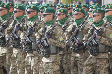 KYIV, UKRAINE - AUGUST 24: Border guard troopers of the Ukrainian Army at the military parade dedicated to the Independence Day of Ukraine on August 24, 2014 in Kyiv, Ukraine. These guys take a part in the anti-terrorists operation in Donbass.