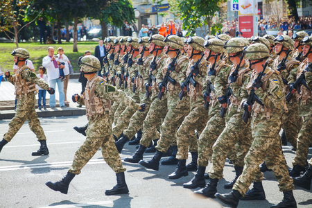 KYIV, UKRAINE - AUGUST 24: Anti-diversion squad of the Ukrainian Army at the military parade dedicated to the Independence Day of Ukraine on August 24, 2014 in Kyiv, Ukraine. These guys take a part in the anti-terrorists operation in Donbass.
