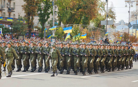 KYIV, UKRAINE - AUGUST 24: Airborne troopers of the Ukrainian Army at the military parade dedicated to the Independence Day of Ukraine on August 24, 2014 in Kyiv, Ukraine. These guys take a part in the anti-terrorists operation in Donbass.