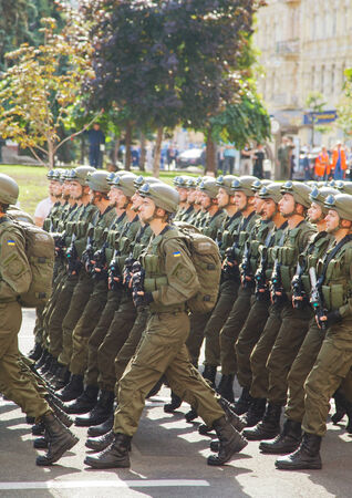 luhansk: KYIV, UKRAINE - AUGUST 24: Airborne troopers of the Ukrainian Army at the military parade dedicated to the Independence Day of Ukraine on August 24, 2014 in Kyiv, Ukraine. These guys take a part in the anti-terrorists operation in Donbass.