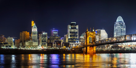 Cincinnati downtown panoramic overview in the night Фото со стока