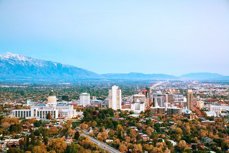 Salt Lake City overview in the evening Stock Photo