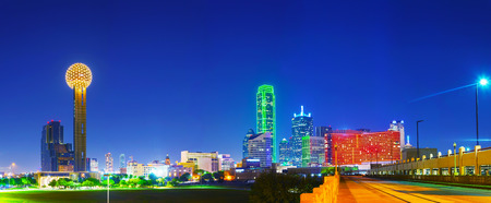 Panoramic overview Dallas, TX in the night