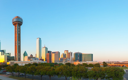 dallas: Overview of downtown Dallas, TX in the evening