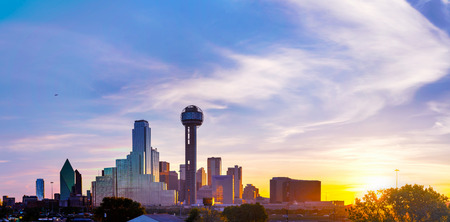 usa cityscape: Panoramic overview of downtown Dallas in the morning