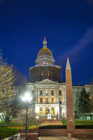 capital of colorado: Colorado state capitol building in Denver in the night time Stock Photo