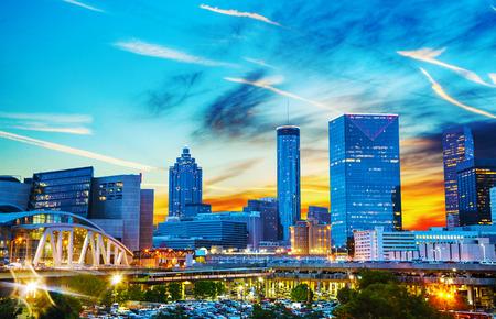 Downtown Atlanta, Georgia at night time Stockfoto