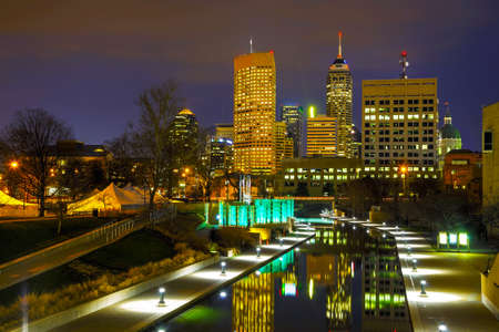 indianapolis: Downtown of Indianapolis at the night time Stock Photo
