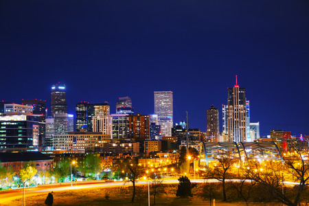 Downtown Denver, Colorado at the night time photo
