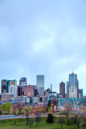 denver skyline: Downtown Denver cityscape in the evening Stock Photo