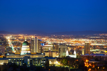 Salt Lake City overview in the night photo