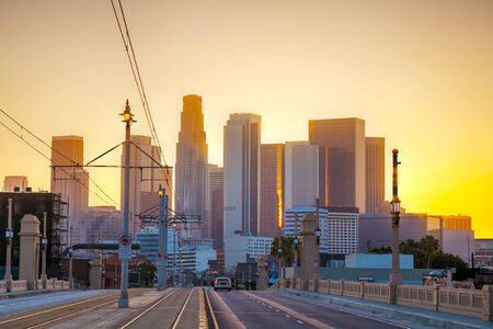 Los Angeles cityscape at the sunrise photo