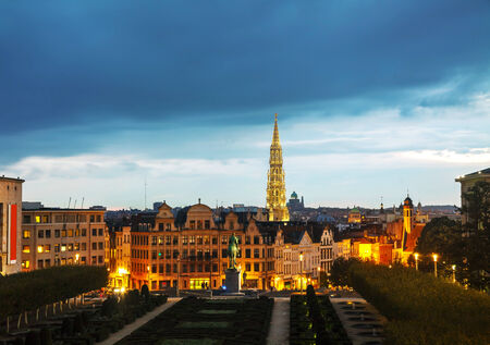 Overview of Brussels, Belgium in the evening