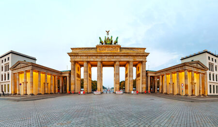 Brandenburg gate panorama in Berlin, Germany in the morning