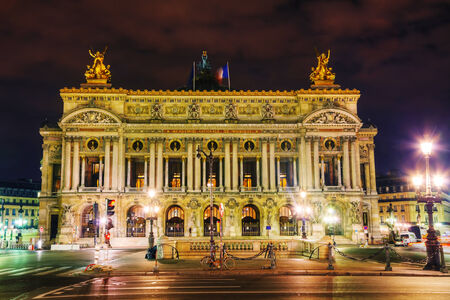 palais garnier: The Palais Garnier (National Opera House) in Paris, France in the night Editorial