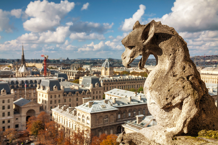 chimera: Paris aerial view with Chimera of Notre Dame de Paris Stock Photo