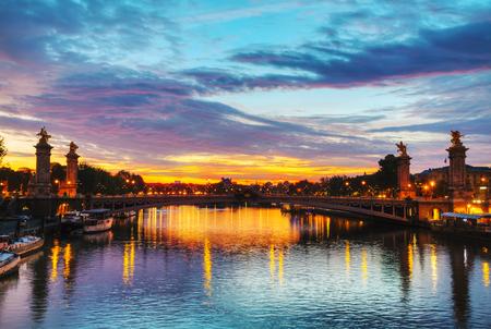aleksander: Paris with Aleksander III bridge at sunrise Stock Photo