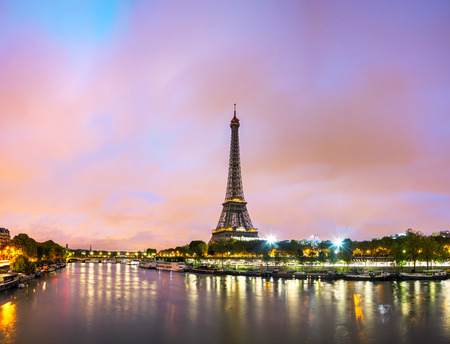 night city: Paris cityscape with Eiffel tower in the morning Editorial
