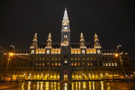 Rathaus building in Vienna, Austria at night