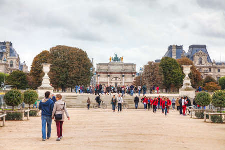 carrousel: PARIS - OCTOBER 9: Arc de Triomphe du Carrousel on October 9, 2014 in Paris, France. Its a triumphal arch, located in the Place du Carrousel built to commemorate Napoleons military victories.