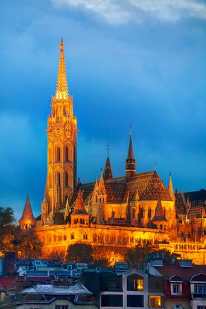 matthias church: Matthias church in Budapest, Hungary at night