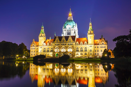 New Town Hall in Hanover, Germany at night
