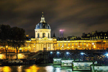 academie: Institut de France building in Paris, France at night
