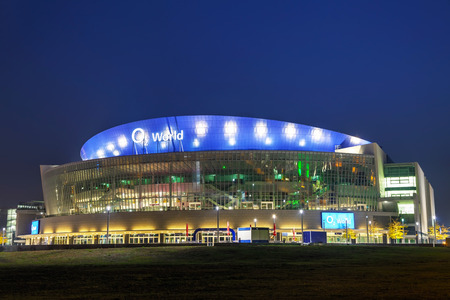 sports venue: BERLIN - OCTOBER 4, 2014: O2 World stadium on October 4, 2014 in Berlin, Germany. Its a multi-use indoor arena in the Friedrichshain neighborhood of Berlin opened in September 2008.