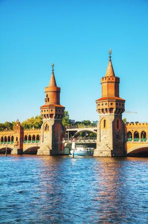 Oberbaum bridge in Berlin, Germany on a sunny day