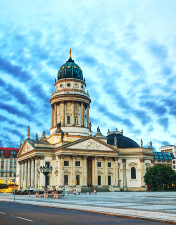 naming: BERLIN - OCTOBER 5: Neue Kirche on October 5, 2014 in Berlin, Germany. Its the colloquial naming for the Deutscher Dom of Friedrichstadt located on the Gendarmenmarkt.